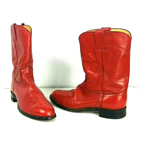 63141238759 Justin Red Western Cowboy Roper Boots Women's